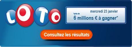 resultat loto du mercredi 23 janvier 2013