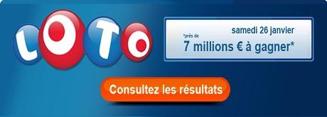 resultat loto du samedi 26 janvier 2013